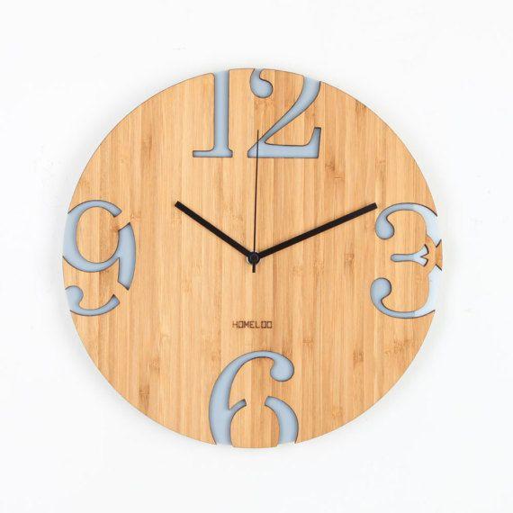 Modern Big Numbers Bamboo Wood Wall Clock Gray Wood Wall Clock Wooden Clock Wall Clock Numbers
