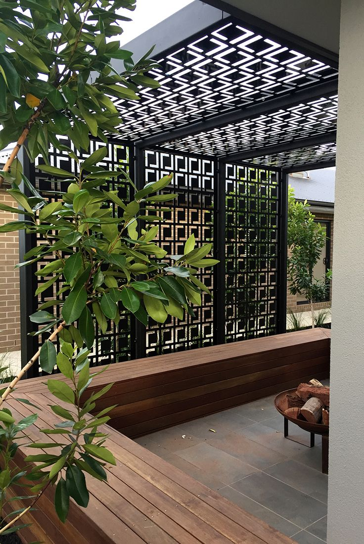 Patio pergola decorative laser cut screens add shade for Hanging privacy screens for decks