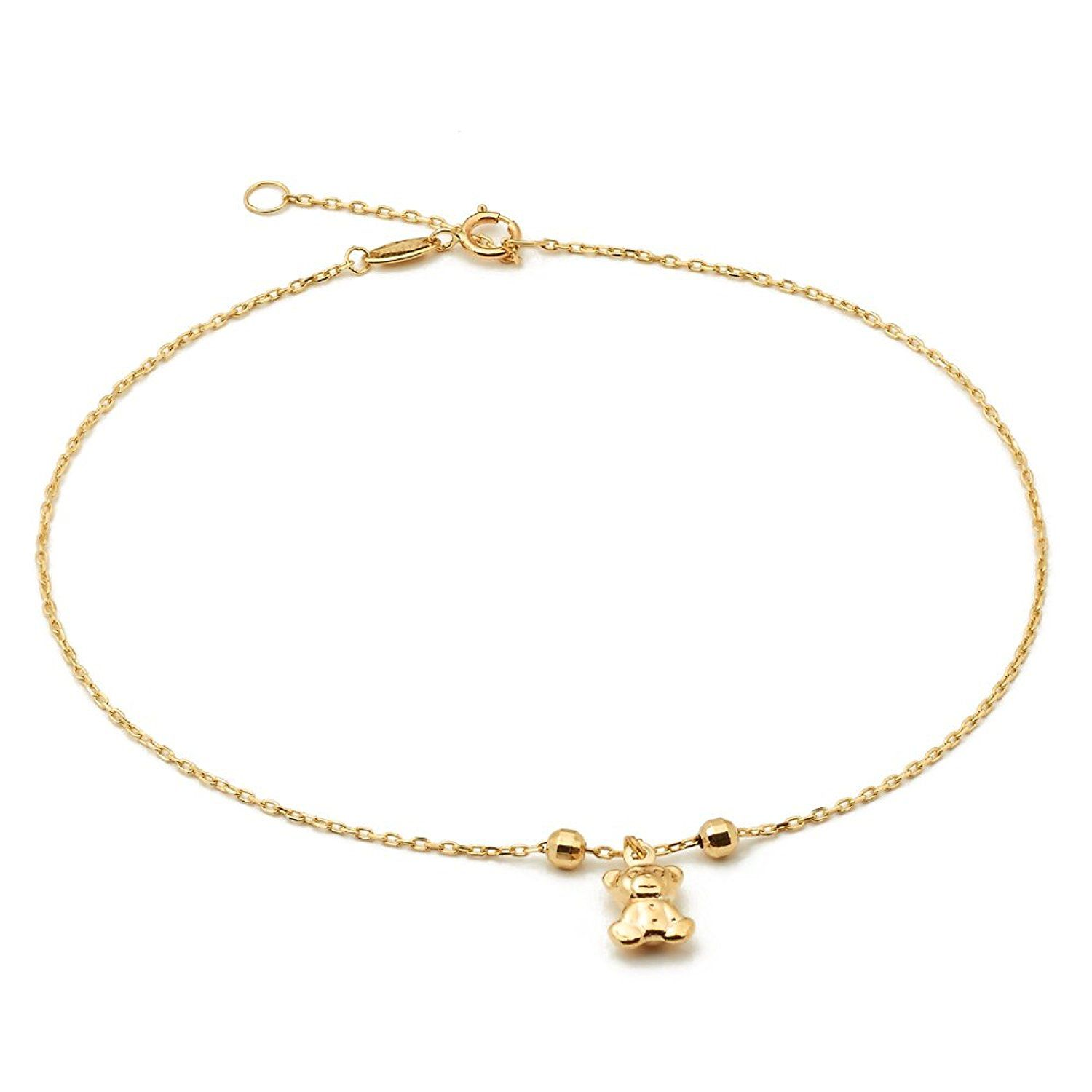 Ankle Anklets For Women Real 10k Yellow Gold Teddy Bear Charm Beach Foot Classy For More Information Visit Women Anklets Silver Anklets Online Gold Anklet