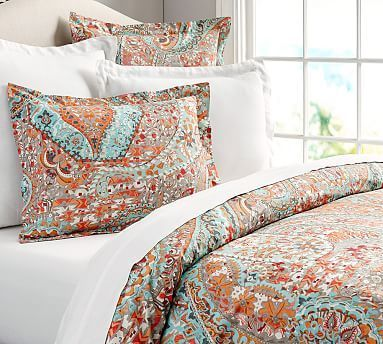 Turquiose And Orange Paloma Paisley Organic Duvet Cover