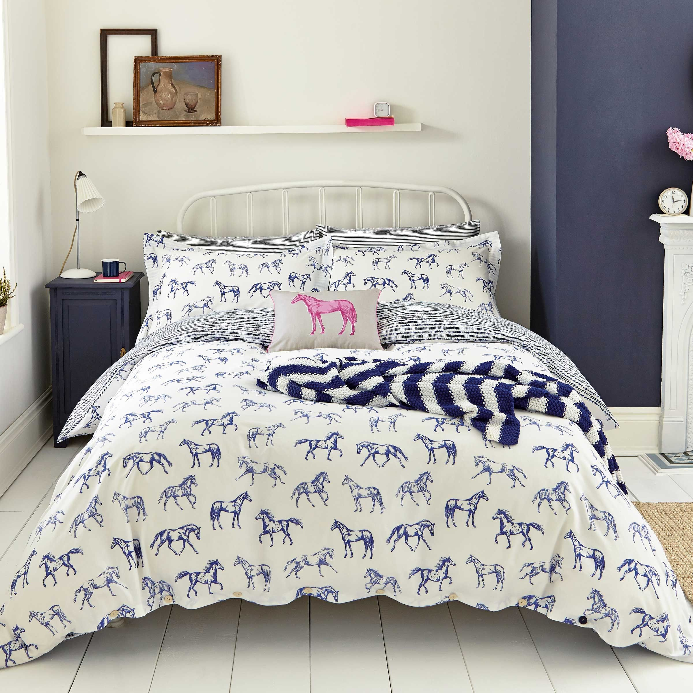 Blue Horse Print Bedding Hand Drawn Horse By Joules At Bedeck
