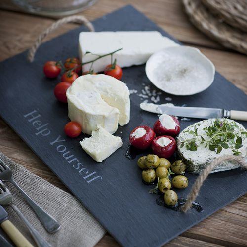 Plateau à fromages en ardoise anses jute Help Yourself : Decoclico ...