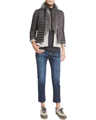 Brunello Cucinelli Quilted Jacket W Monili Chain Trim Cashmere Cardigan W Fox Fur Collar Matte Silk Turtleneck Top Mid Rise Exposed Fly Cropped Jeans With Images Cropped Jeans Cashmere Cardigan Clothes