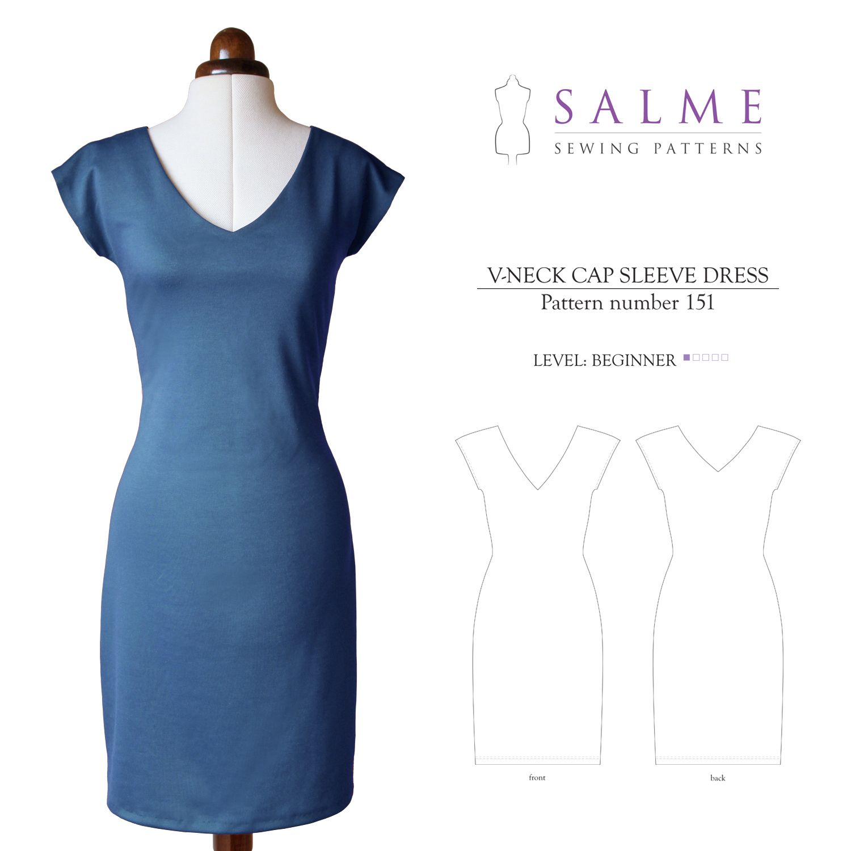Salme Sewing Patterns 151 V-Neck Cap Sleeve Dress Downloadable ...