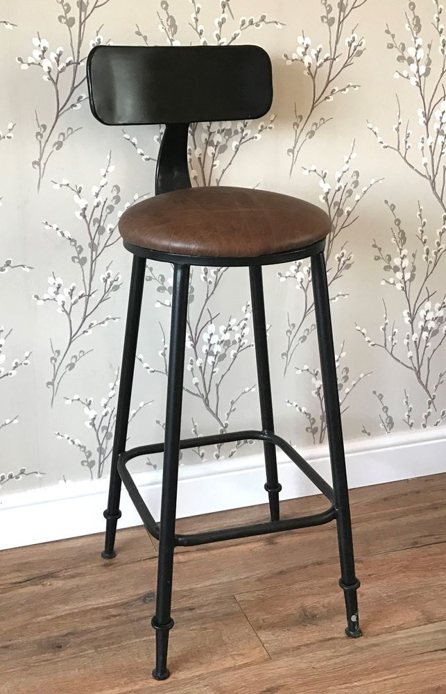 Sensational Industrial Bar Stool With Faux Leather Seat Height 100Cm X Ibusinesslaw Wood Chair Design Ideas Ibusinesslaworg