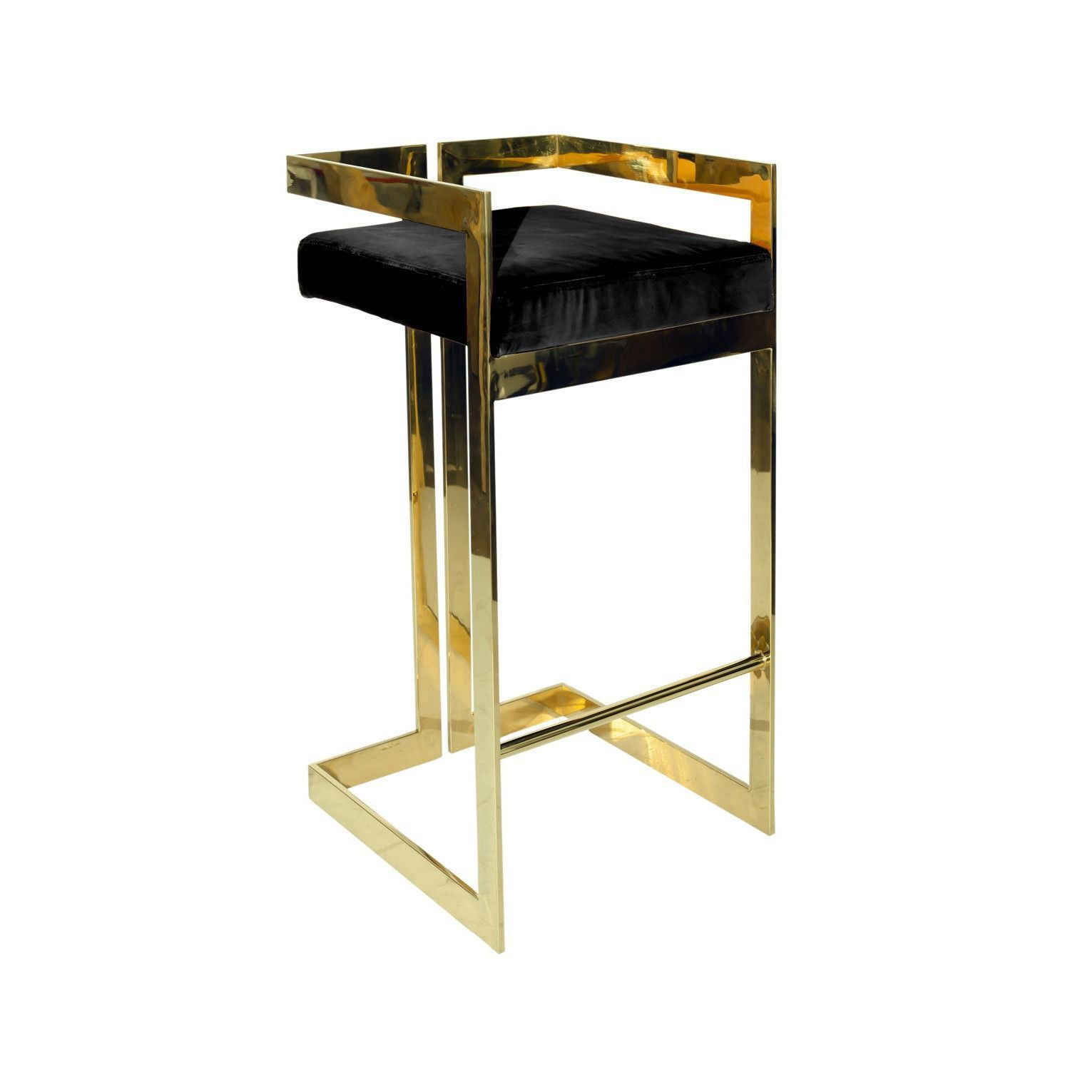 Solid Stainless Steel Bar Stool With Polished Gold Finish And Black Velvet  Cushion. Also Available In White.   Only Available In BAR HEIGHT.