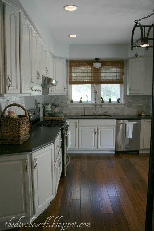 White Cabinets Benjamin Moore Moonshine Marble Tile Backsplash Venatino Polished Marble Honed Finish Gran Kitchen Flooring Kitchen Room Farmhouse Kitchen