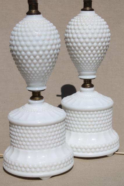 Vintage Hobnail Milk Glass Lamps 1950s Dresser Lamp Pair Boudoir