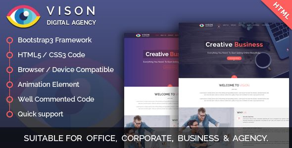 Vision Digital Agency – Multipurpose One Page HTML Template ...