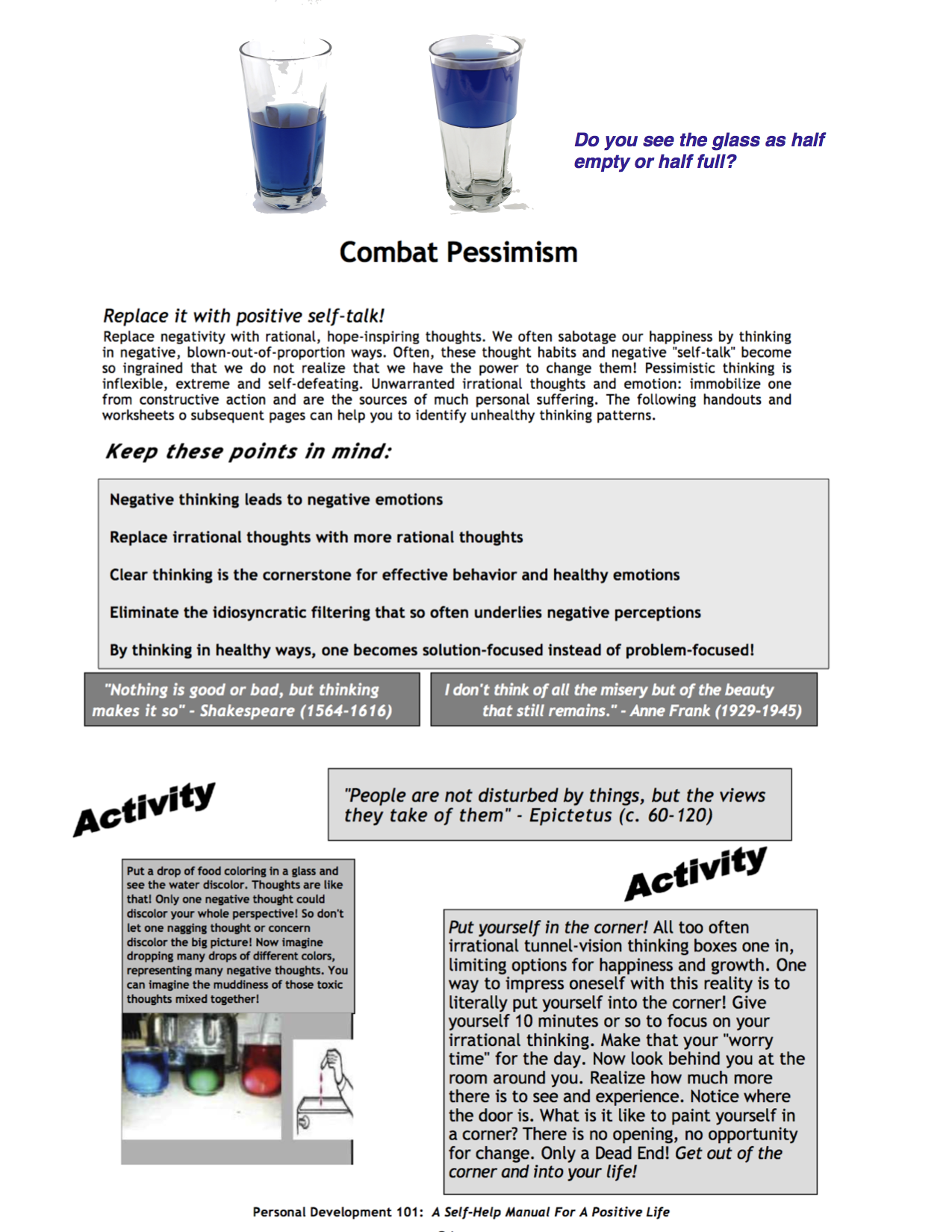 This sheet is adapted from my e book, Personal Development ...