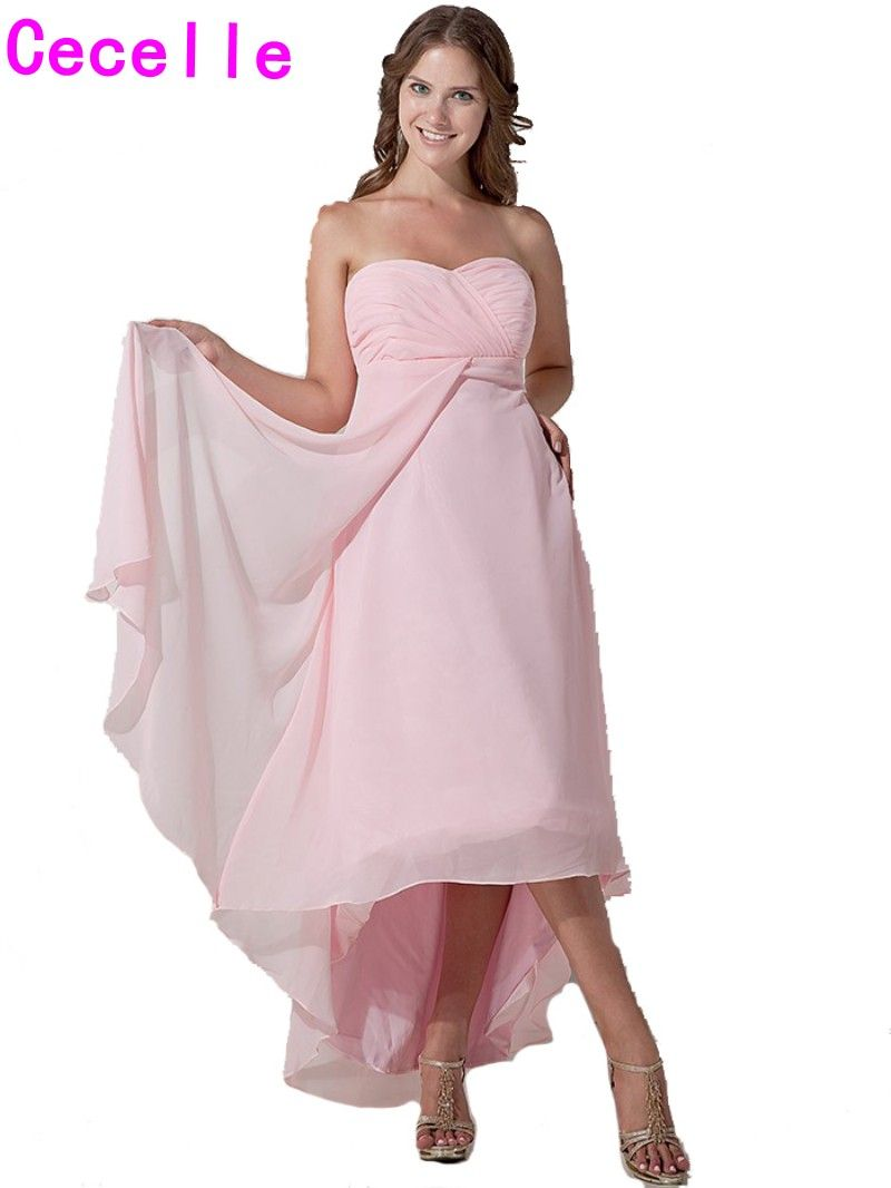 Country dresses for wedding party  Click to Buy ucuc Pink Short High Low Chiffon Bridesmaids Dresses Real
