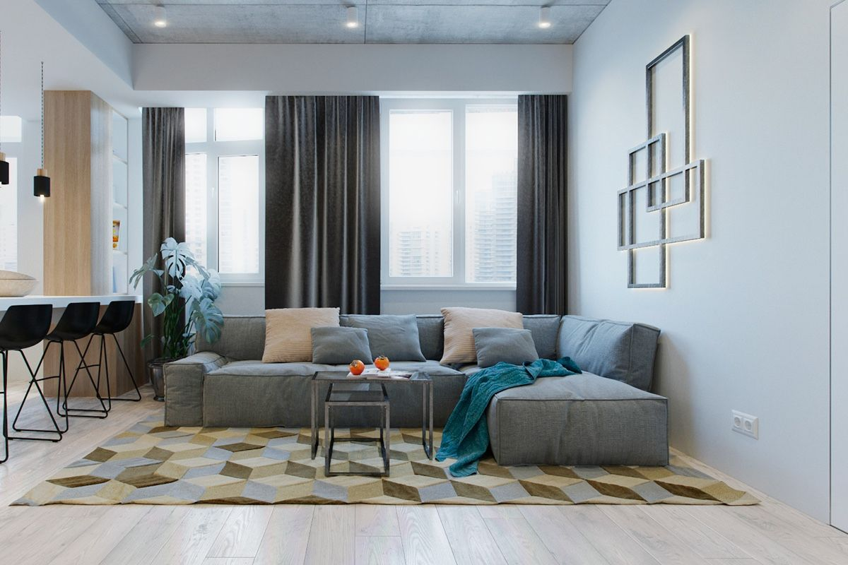 2 Modern Apartments Under 1200 Square Feet Area For Young Families Includes 3d Floor Plans