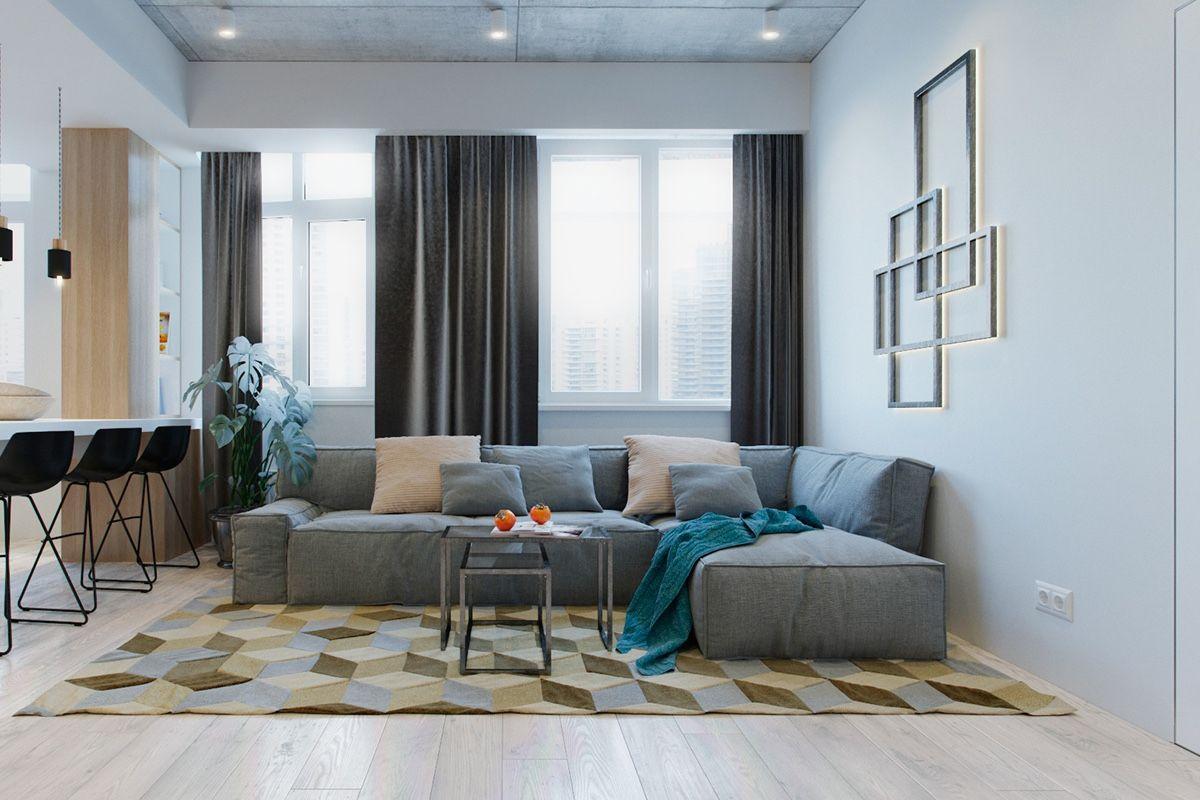 Kleine moderne Wohnung Design, die eine Färbung und neutrale Töne ...