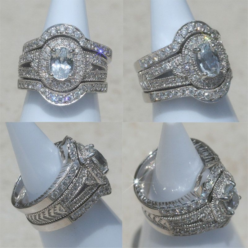 Oval White Sapphire Wedding Set With Diamond Halo Split Shank And Contoured Bands