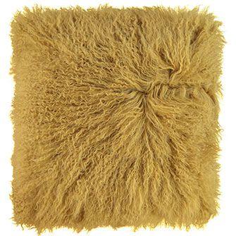 The Cushion Factory Yellow Mongolian Wool Cushion 40x40cm