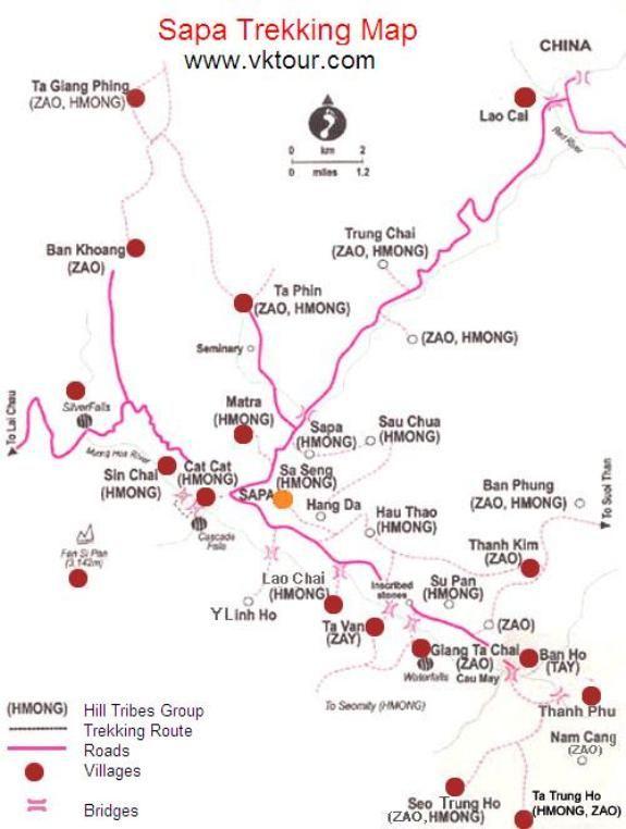 Sapa trekking map | Adventure #1: Vietnam, Cambodia, Laos