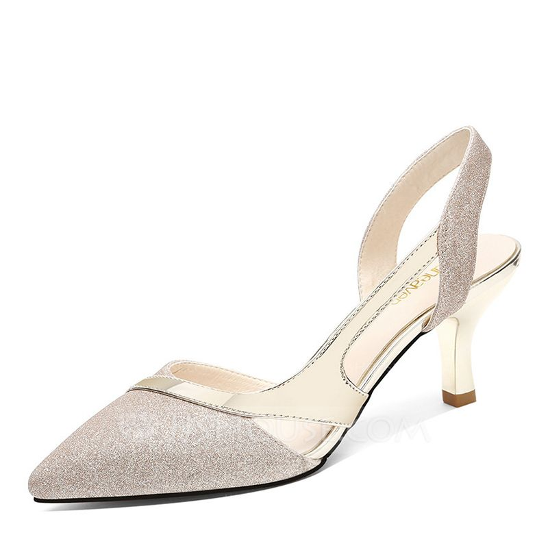 31fa90596b01 Women's Sparkling Glitter Spool Heel Closed Toe Slingbacks (047175044) -  Wedding Shoes - JJ's House