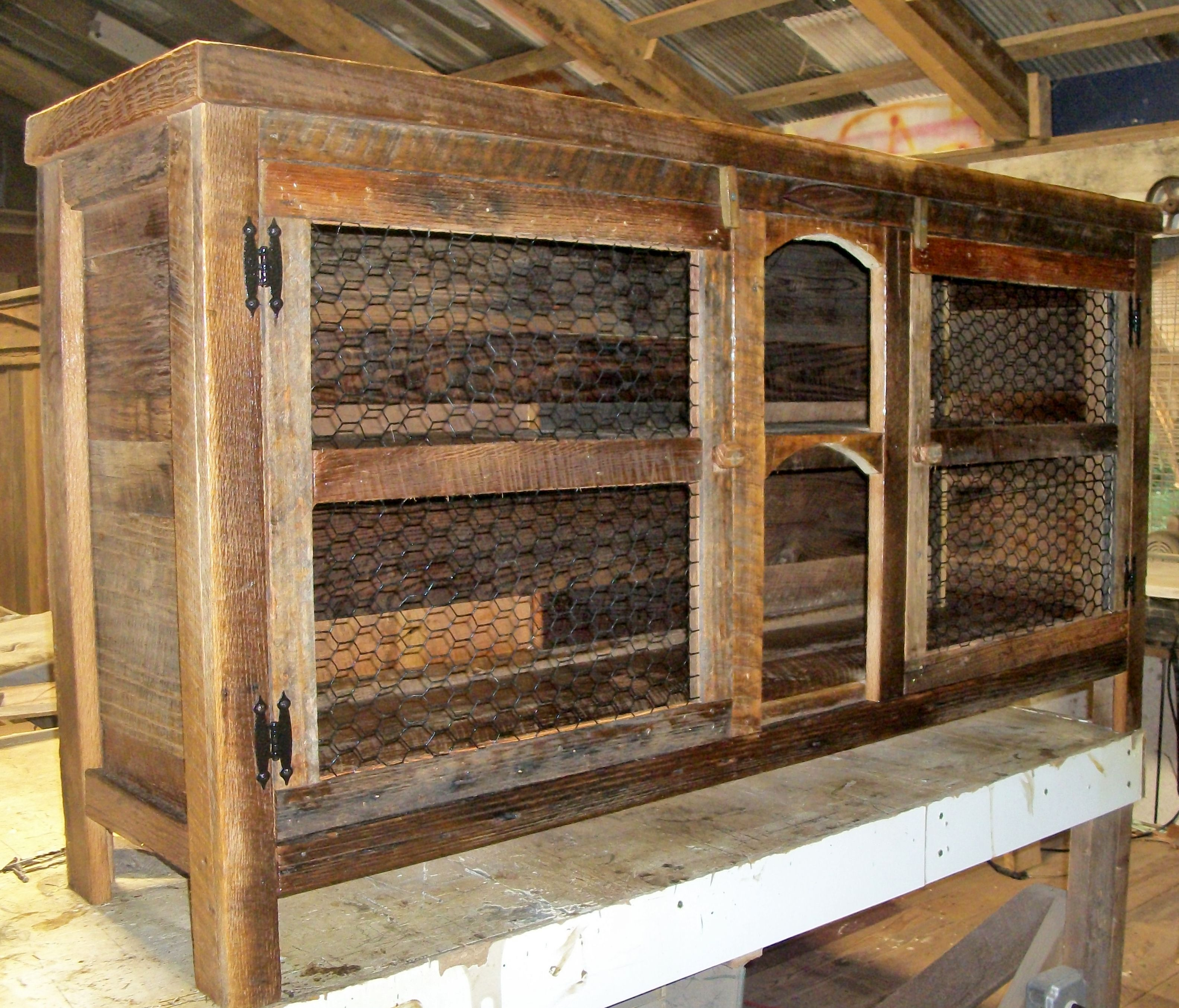 Barn wood furniture - Entertainment Center Made With Barn Wood And Some Chicken Wire