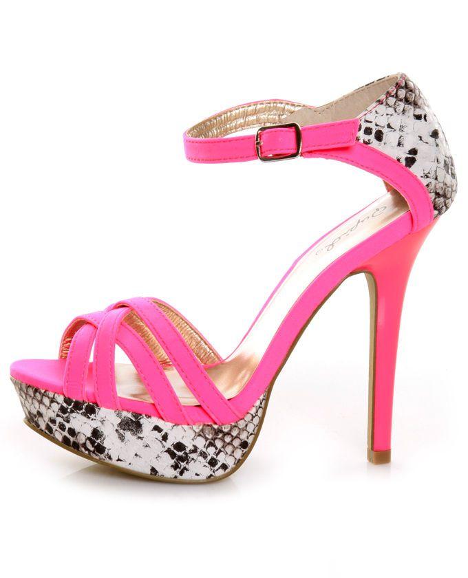 fc8c0fc27 Hot pink was never this hot! Qupid - Glitter - Neon Pink Lycra & Python  Platform Pumps ...