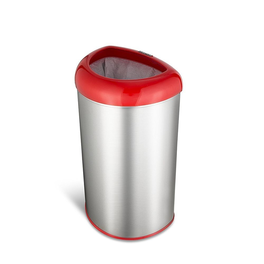 Stainless Steel Waste Trash Can Open Top Wastebasket Home