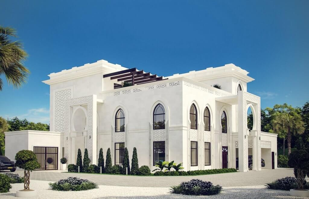White Modern Islamic Villa Exterior Design 8 Modern Windows On The Ground Floor Along With Pointed Arched O Exterior Design Villa Design Morrocan Architecture