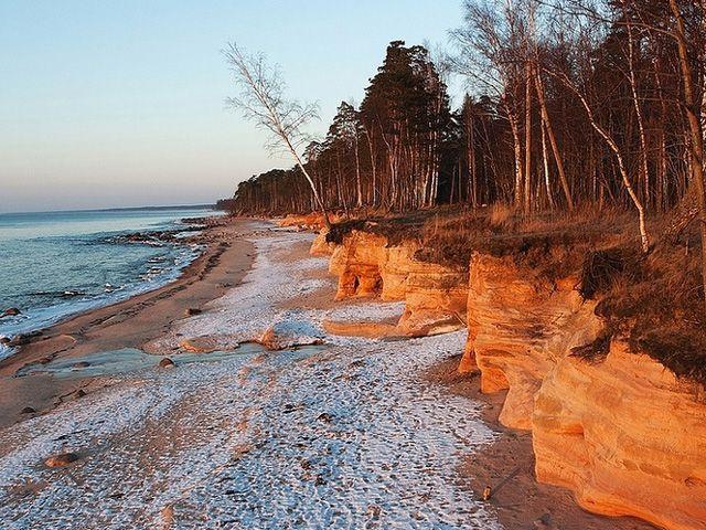 Beach in winter along the Baltic sea, Latvia Baltic