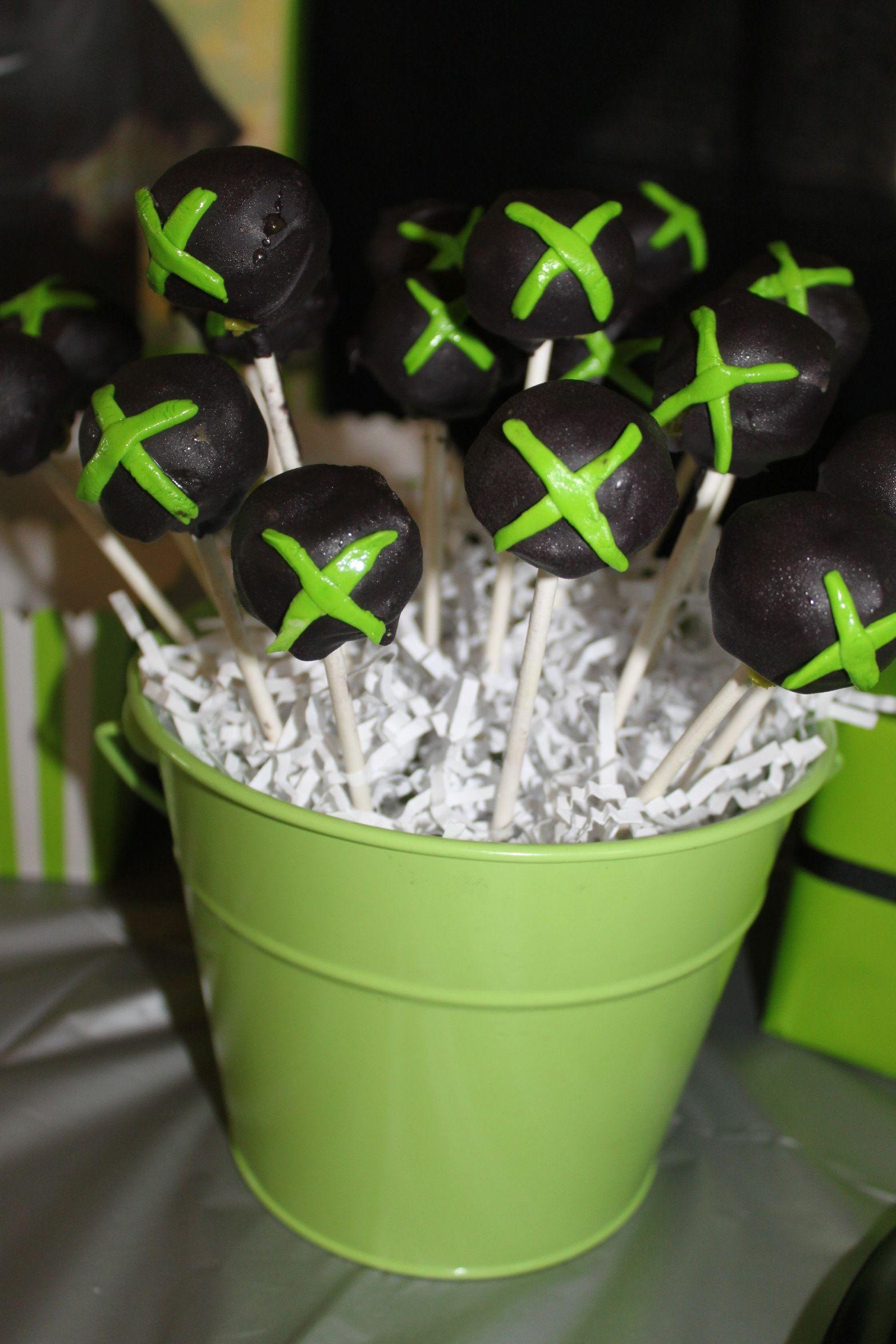 xbox 360 cake pops Xbox birthday party, Xbox party, Halo