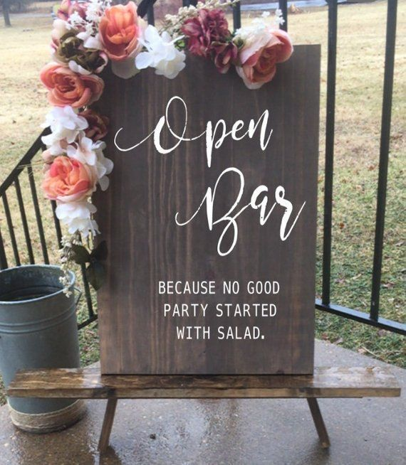 Open Bar Wedding Sign | Wedding sign | Rustic Wedding Sign | Wedding Wood Sign