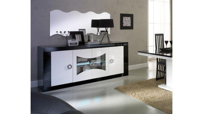Buffet haut blanc laqué et verre noir PATRICIA | Argentier bar ...