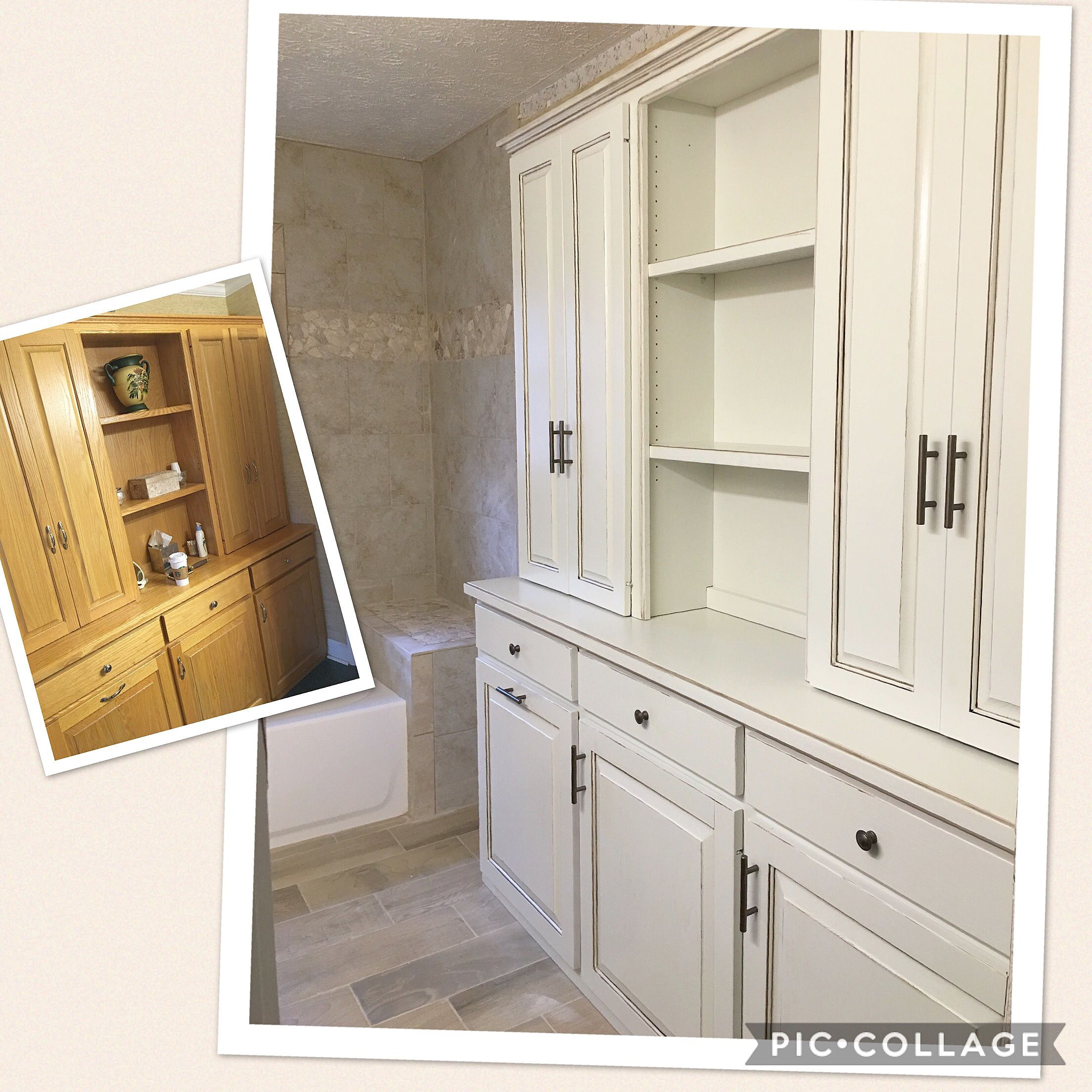 Oak built in cabinetry painted in Sherwin Williams, Natural Choice ...