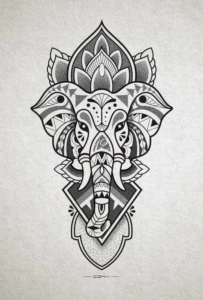 Elephant head tattoo design for inner forearm. http://instagram.com/conlll http://www.facebook.com/conetree