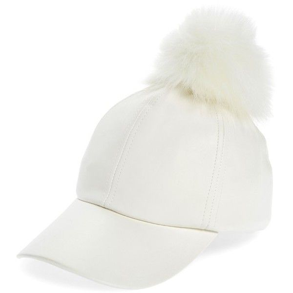 Women s Evelyn K Faux Leather Cap With Faux Fur Pompom ( 34) ❤ liked on  Polyvore featuring accessories 3e6a608f9ed