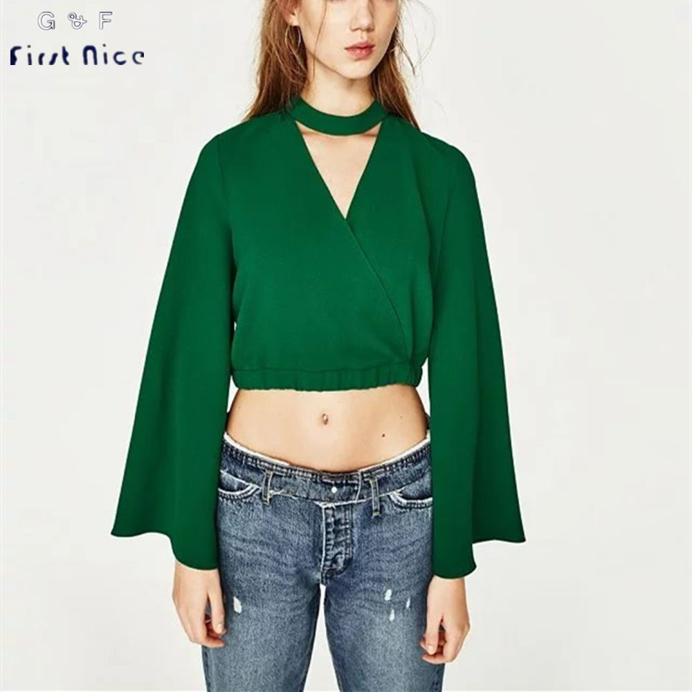 Women Halter Blouses 2017 Spring New Fashion Long Flare Sleeve ...