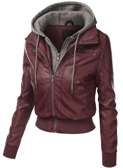 Women's Fake 2 Piece Zipper Hooded PU Leather Jacket - OASAP.com