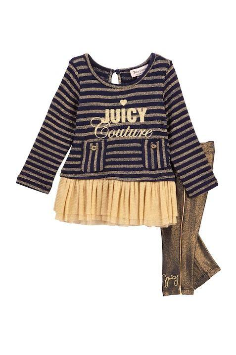 Lurex Knit Ruffle Mesh Bottom Tunic   Gold Piping Legging Set (Baby Girls) 009aa1b253