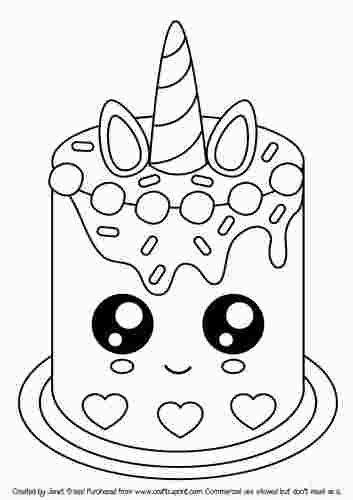 Kawaii Cake Coloring Page In 2020 Unicorn Coloring Pages Cupcake Coloring Pages Mermaid Coloring Pages