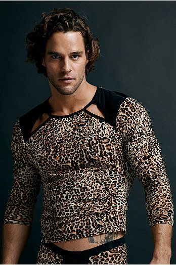 Leopard Print Dress Shirt For Mens
