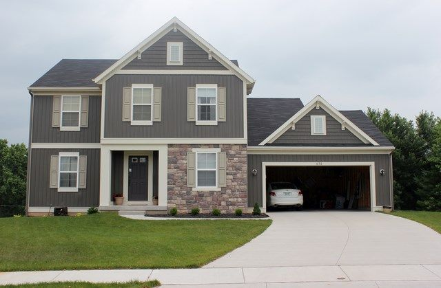 672 orchard ct storm and windswept smoke with onyx black for Cobblestone shutters