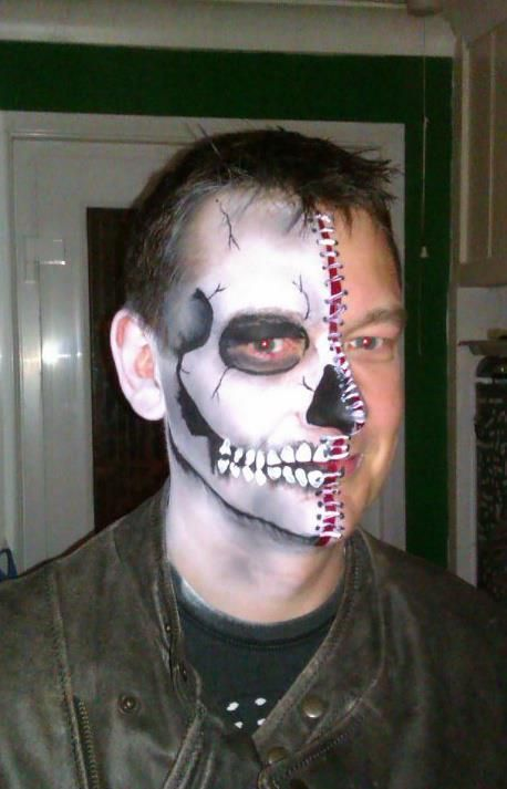 half skull male day of the dead halloween boy man guy skull face painthalf - Halloween Skull Face Paint Ideas