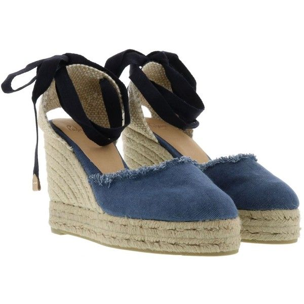 Wedge Espadrilles ($66) ❤ liked on Polyvore featuring shoes, sandals, jeans, womenshoeswedges, fringe shoes, rubber sole sandals, wedges shoes, canvas espadrilles and castaner espadrilles