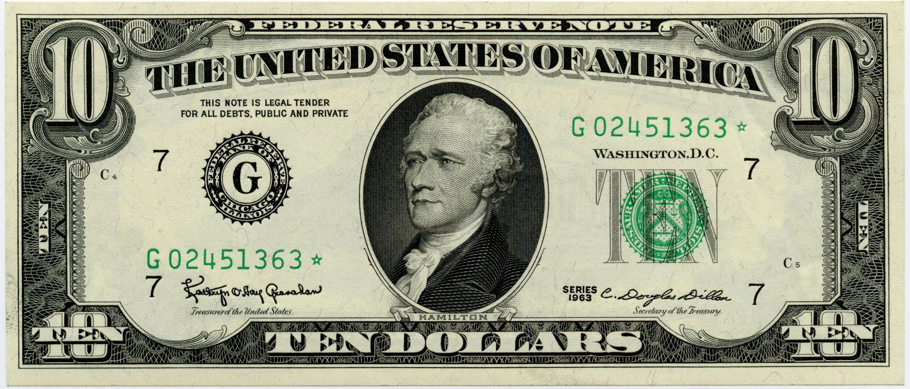 10 00 Federal Reserve Note F G Star Note
