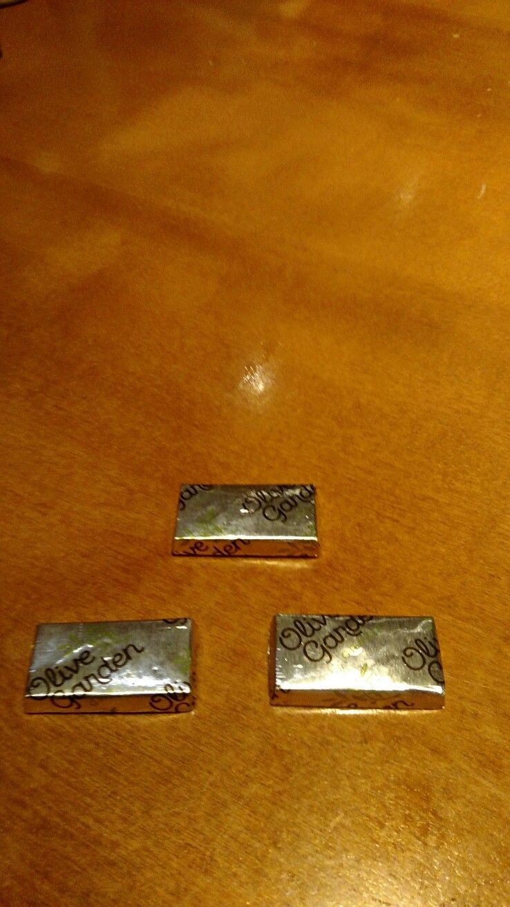 After dinner chocolate / mint mints complimentary of Olive Garden is ...