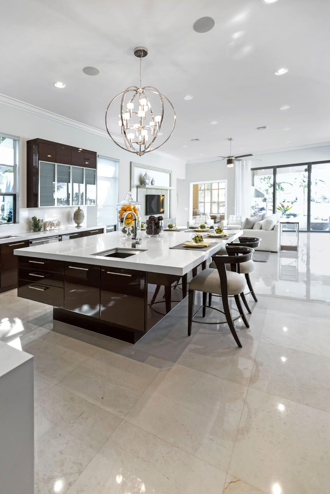 Large Modern White And Dark Brown Kitchen With Huge Island Breakfast Bar