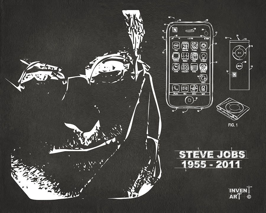 Digital art steve jobs iphone patent artwork gray by