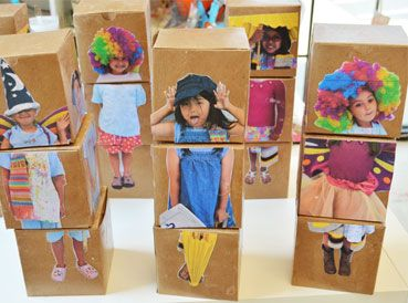 Stick pictures of the kids in silly costumes on blocks for them to make different replicas of themselves and their friends. Makes building more personal.