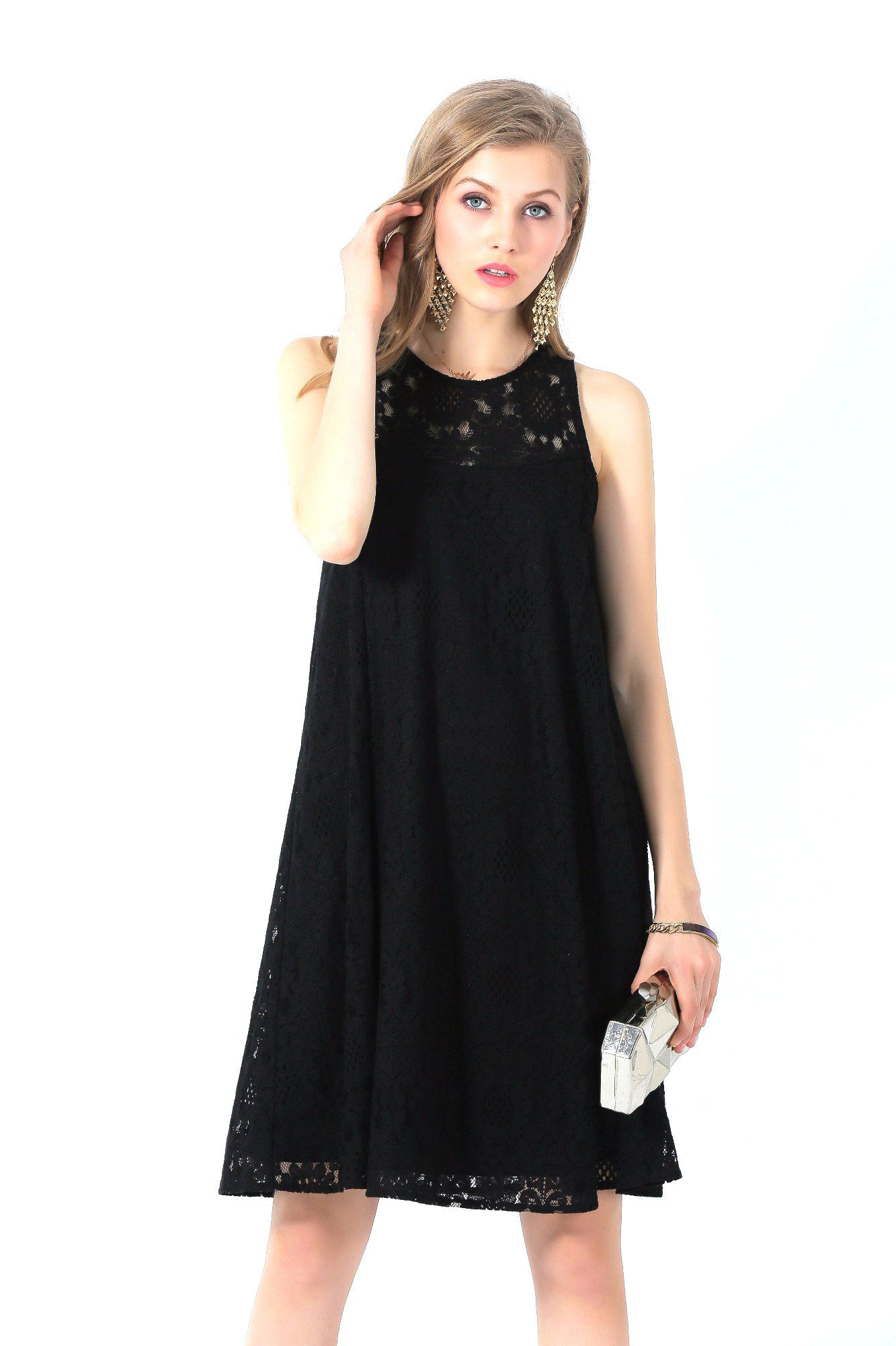 e34efcc06cb3f7 UP Ultrapink Missy Black Classy Allover Lace Sleeveless Trapeze Dress Must  Have small ***