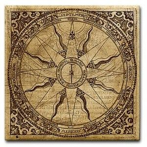 Old Compass Rose Tile Coaster - Old Compass Rose T-shirts & Gifts ...