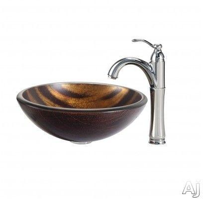 Kraus CGV69519MM1005SN 17 Inch Tempered Glass Vessel Sink with ...