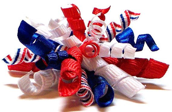 patriotic barrette Stars N Stripes dog bows in Patriotic ribbons dog hair accessory