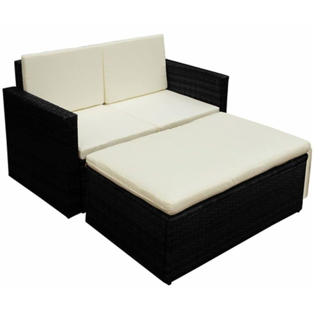 Photo of 2 Piece Garden Lounge Set with Cushions Poly Rattan Black, LivEditor(Steel), Outdoor Seating